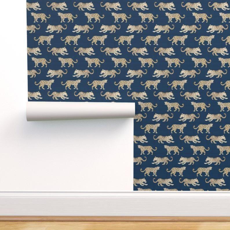 Leopards Wallpaper Leopard Parade Blue By Danika Herrick Etsy Wallpaper Leopard Wallpaper Self Adhesive Wallpaper
