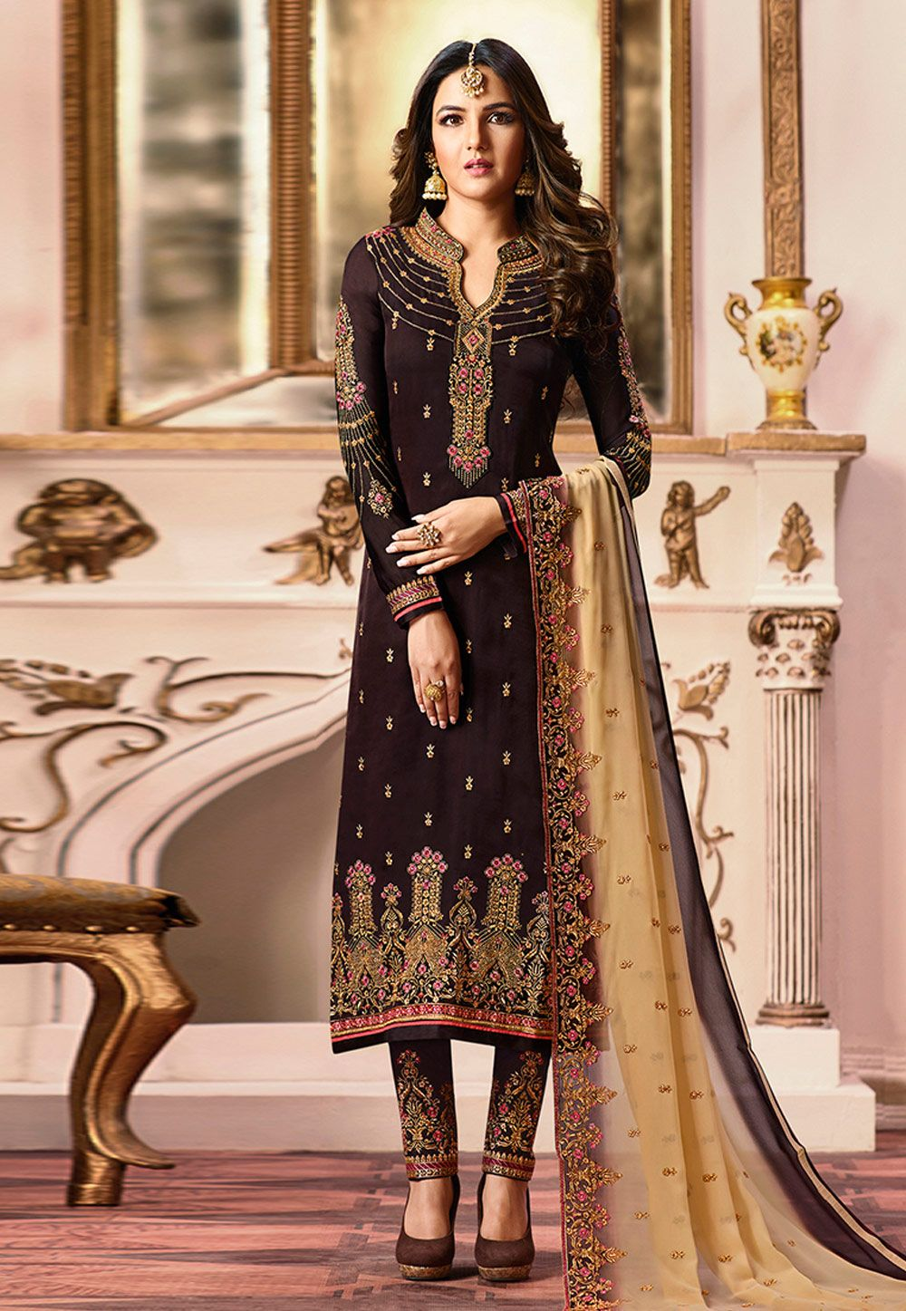 a26dbaeeee Buy Jasmin Bhasin Brown Satin Embroidered Pant Style Suit 165672 online at  lowest price from huge