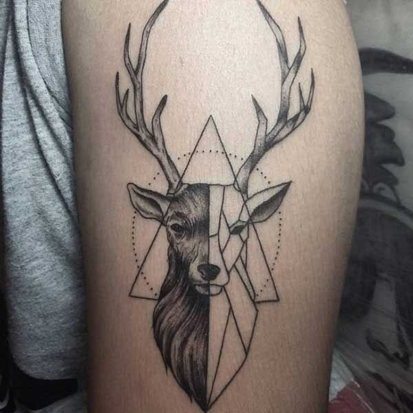 geometric deerr tattoo tumblr geyik d vmeleri deer. Black Bedroom Furniture Sets. Home Design Ideas