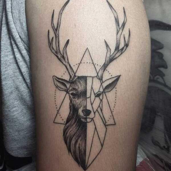 geometric deerr tattoo tumblr geyik d vmeleri deer tattoos pinterest tattoo ideen und ideen. Black Bedroom Furniture Sets. Home Design Ideas