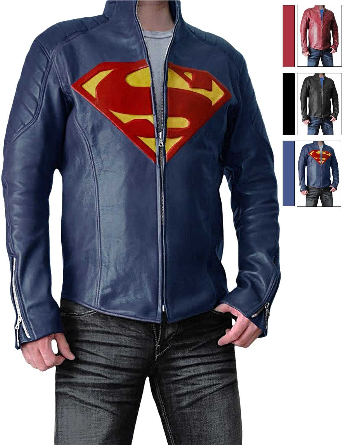 Slim Fit Super Blue Leather Jacket for Boys Synthetic