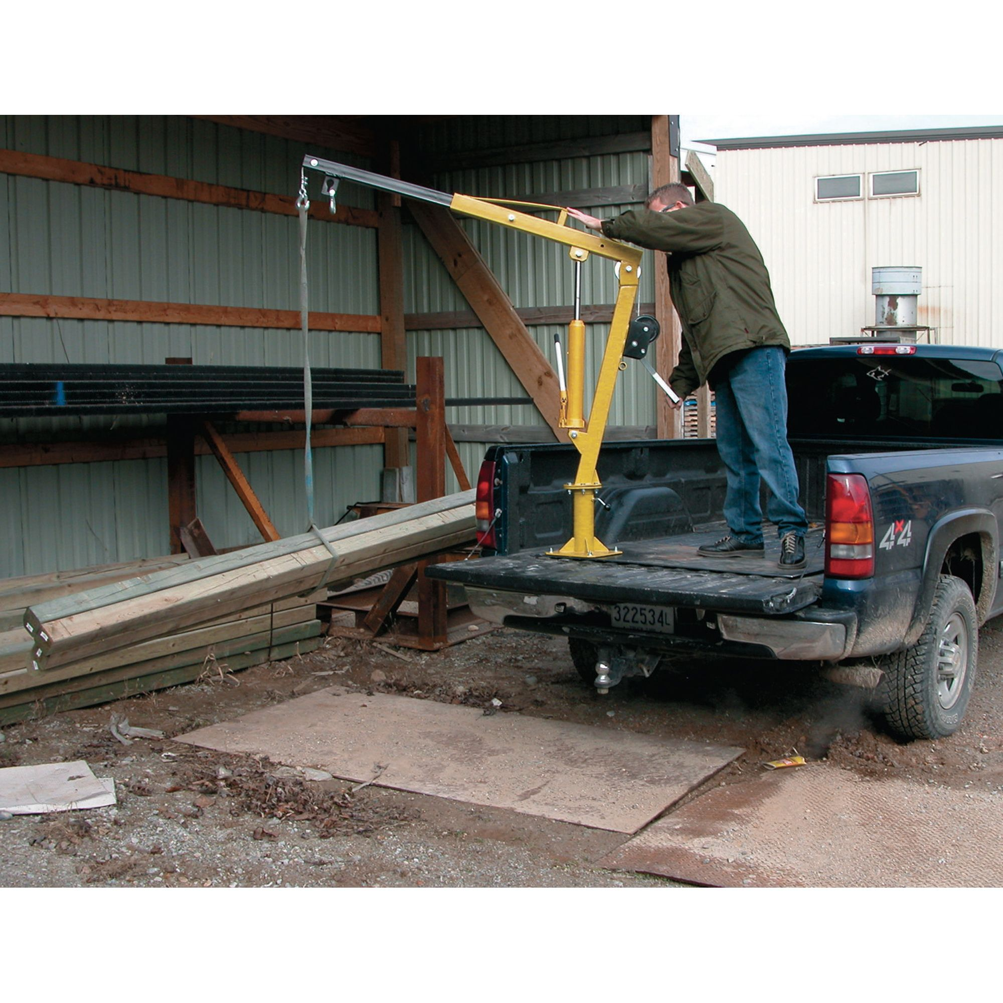 Vestil Hydraulic Pickup Truck Jib Crane With Hand Winch