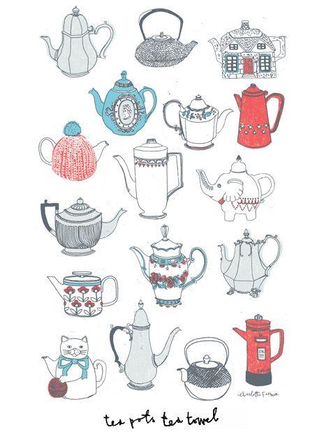 Teapots Tea towel   Charlotte Farmer