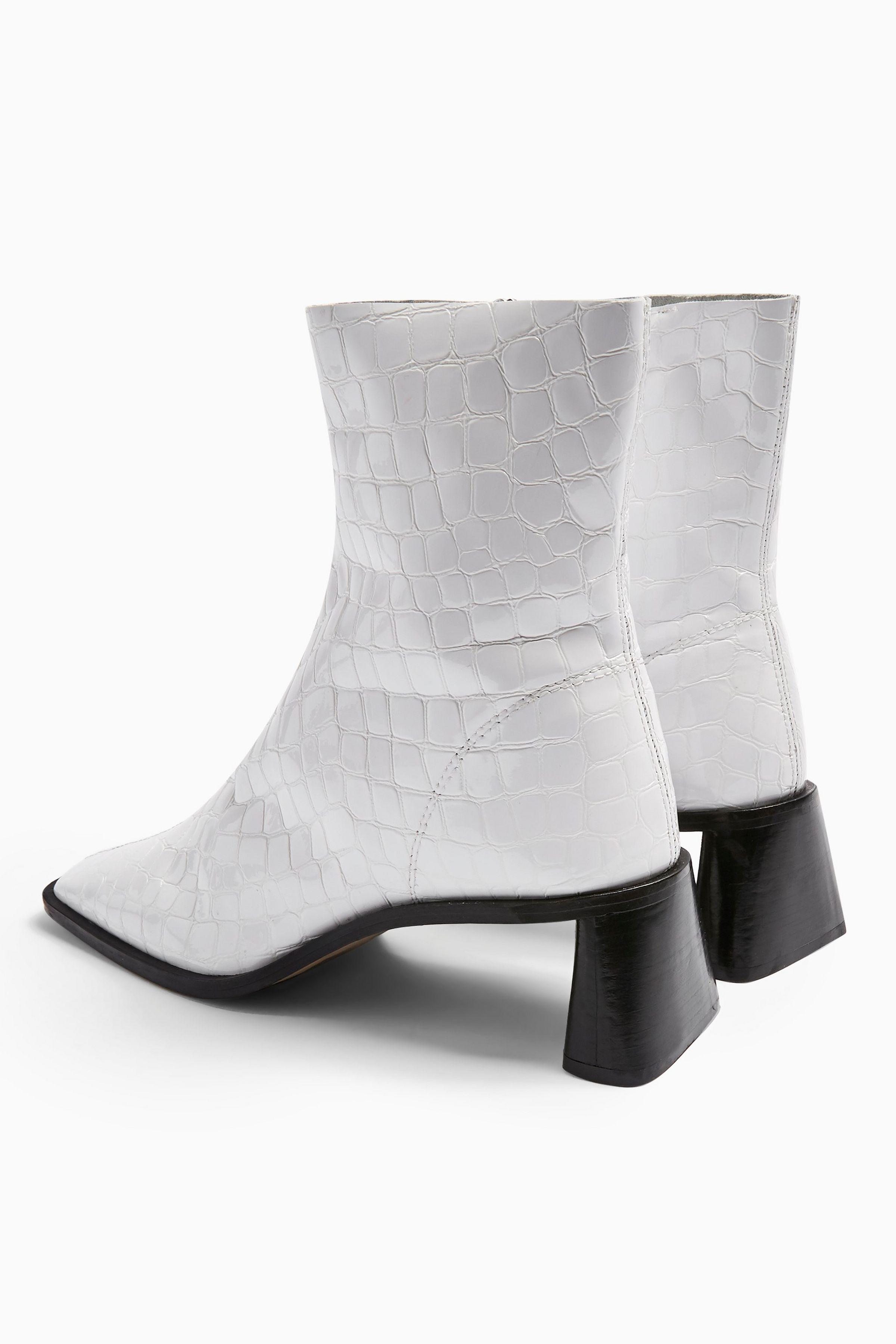 MAJA Leather White Crocodile Sock Boots