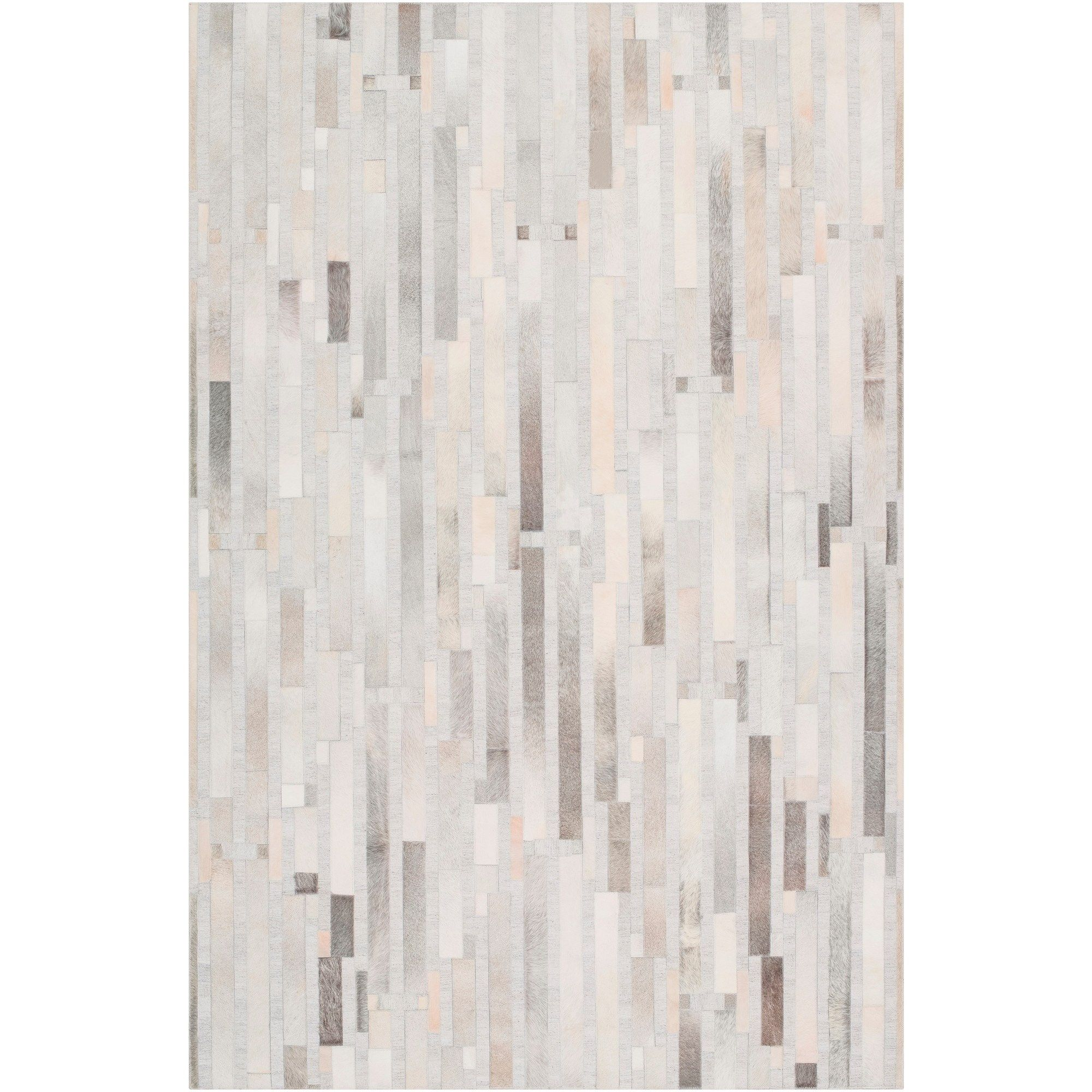 Hand Crafted Euclid Viscose Leather Area Rug 6 X 9 6 X 9 Light Grey Cowhide Abstract