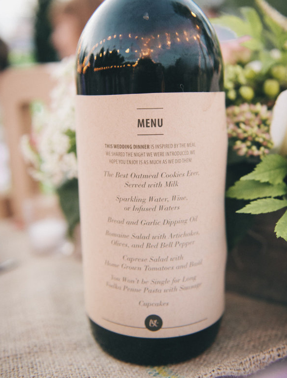 les menus sur les bouteilles de vins
