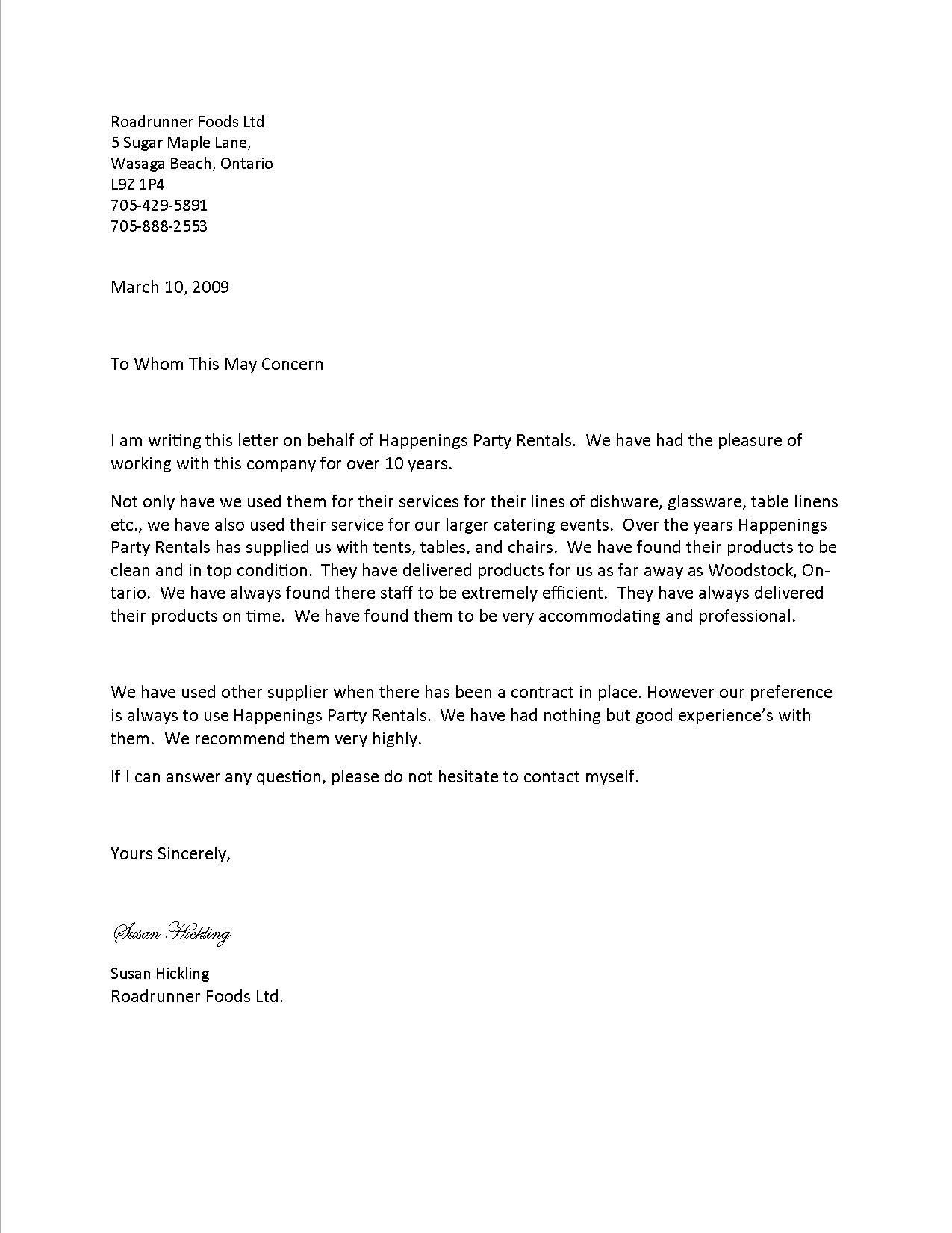 Professional Letter Of Services Online