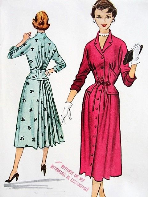 1950s Chic High Fashion Dress Pattern Mccalls 9457 Unique Design Corset Style Waist Back Skirt Fullness Bust 34 Vintage Sewing Pattern Factory Folded Vintage Fashion Vintage Dress Patterns Vintage Dresses