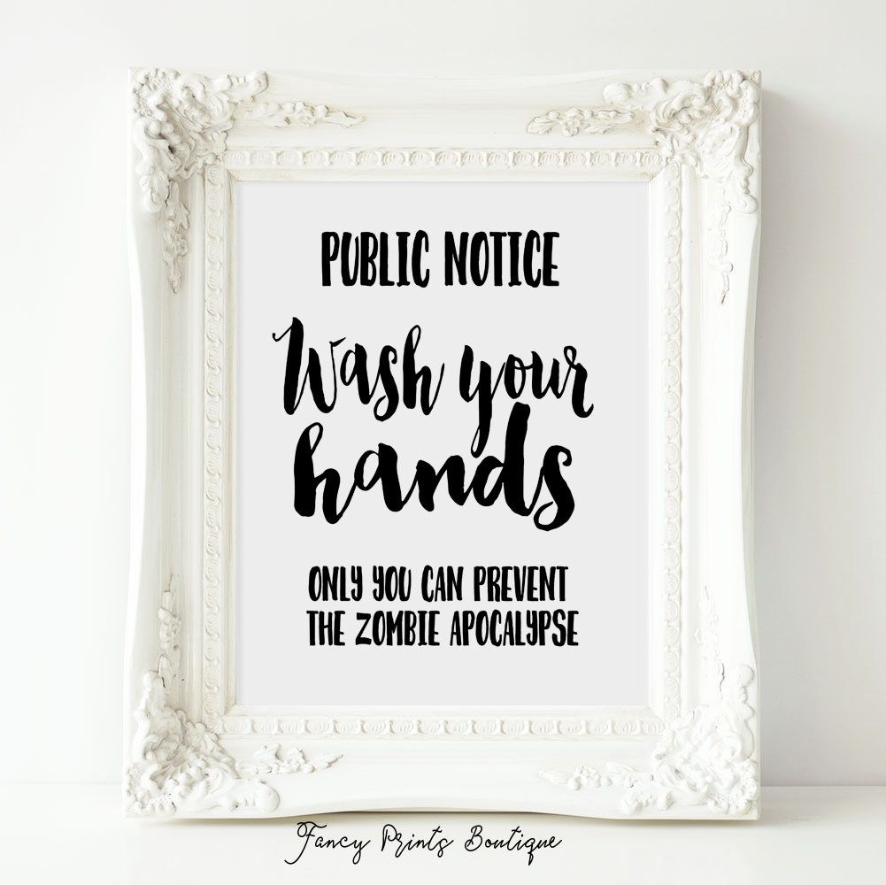 Printable bathroom sign - Funny Bathroom Sign Printable Art Wash Your Hands Zombie Apocalypse Funny Bathroom Art