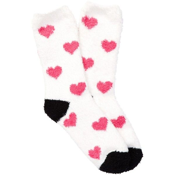 PJ SALVAGE Swak Heart Crew Socks ($4.75) ❤ liked on Polyvore featuring intimates, hosiery, socks, ivory, heart socks, fuzzy socks, p.j. salvage, crew length socks and crew cut socks