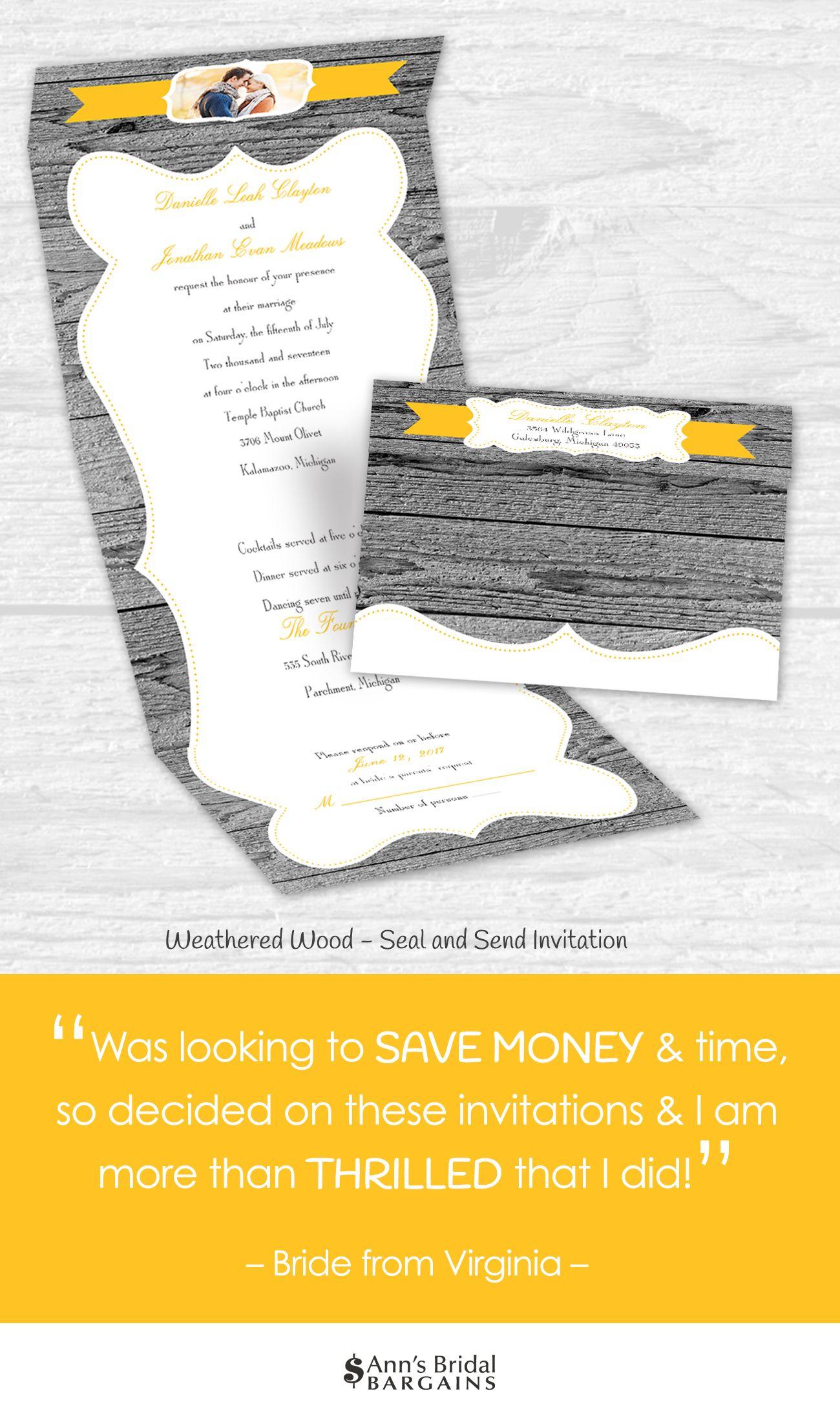 Brides love this rustic seal and send wedding invitation.  #rustic #wood #photo #cheapwedding