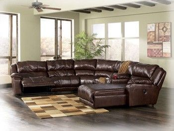 Ashley Amaroo Reclining Sectional Genuine Leather Dream Rooms Furniture Ashley Furniture Furniture Sectional Sofa With Recliner