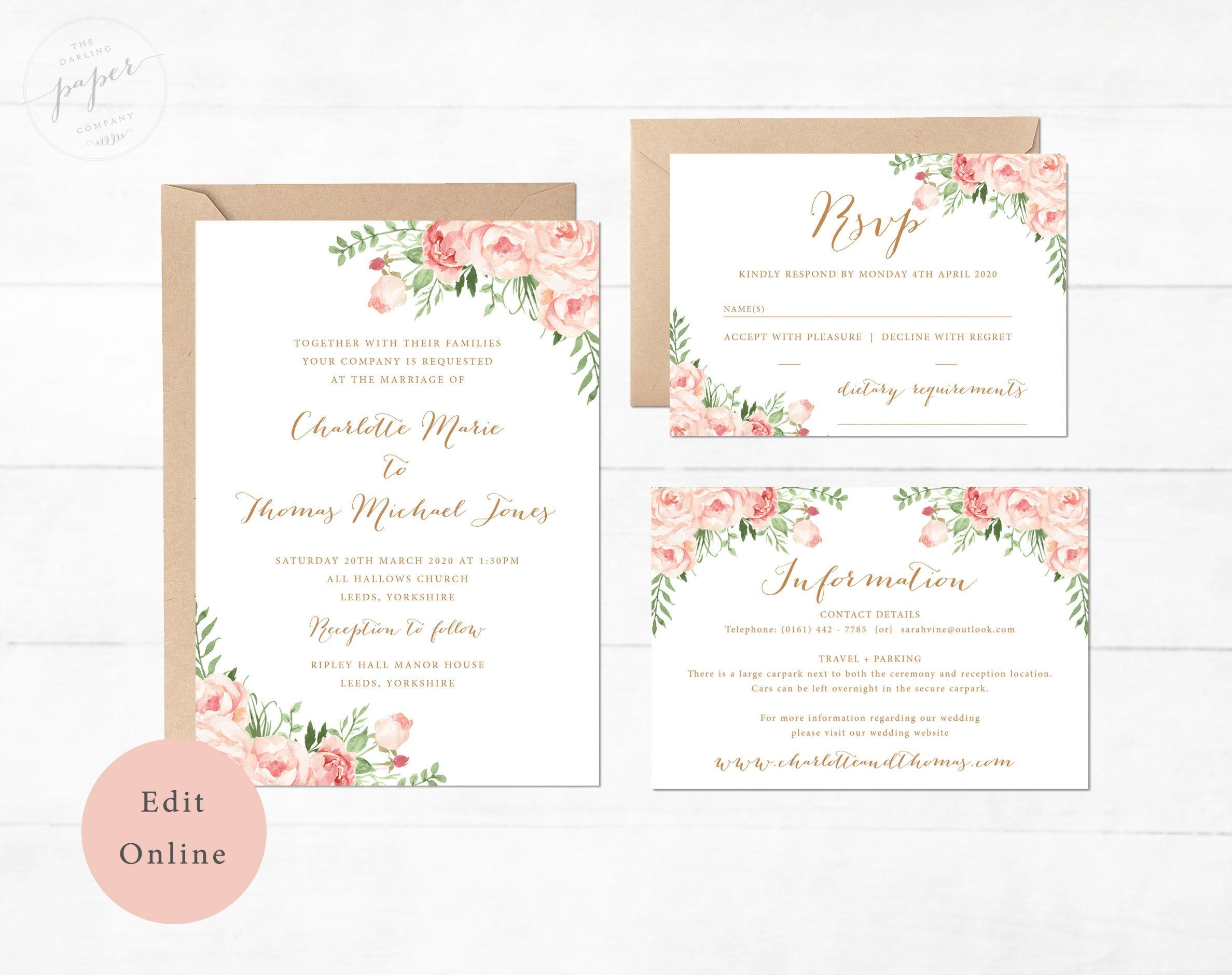 Editable Wedding Invitation Printable