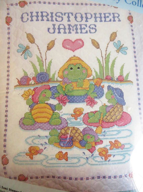 Bucilla Stamped Crib Cover Kit 41489, Pond Pals Turtles and Frogs ... : bucilla cross stitch baby quilts - Adamdwight.com