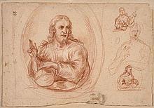 Ecole française de la seconde partie du XVIIe siècle  Plusieurs études pour un Christ Salvator Mundi Sanguine