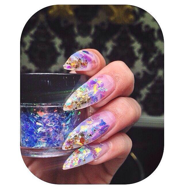 Nails / stiletto nail / gel nails / acrylic nails / glitter flakes ...