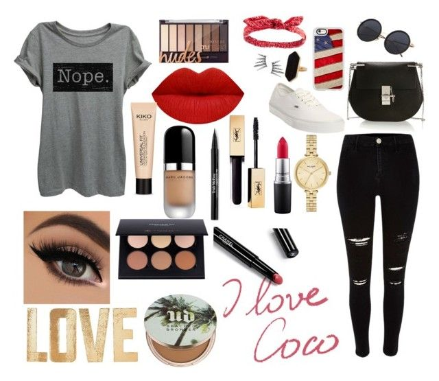 """""""Lips red"""" by mafecastilloescobar on Polyvore featuring moda, River Island, Vans, Chloé, Casetify, Charlotte Russe, Jaeger, Kate Spade, MAC Cosmetics y Trish McEvoy"""