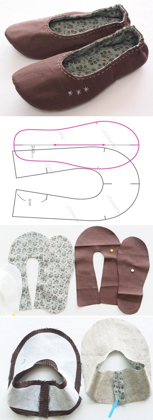DIY Fabric Slippers, Sewing Idea | Clothing | Pinterest | Sewing ...