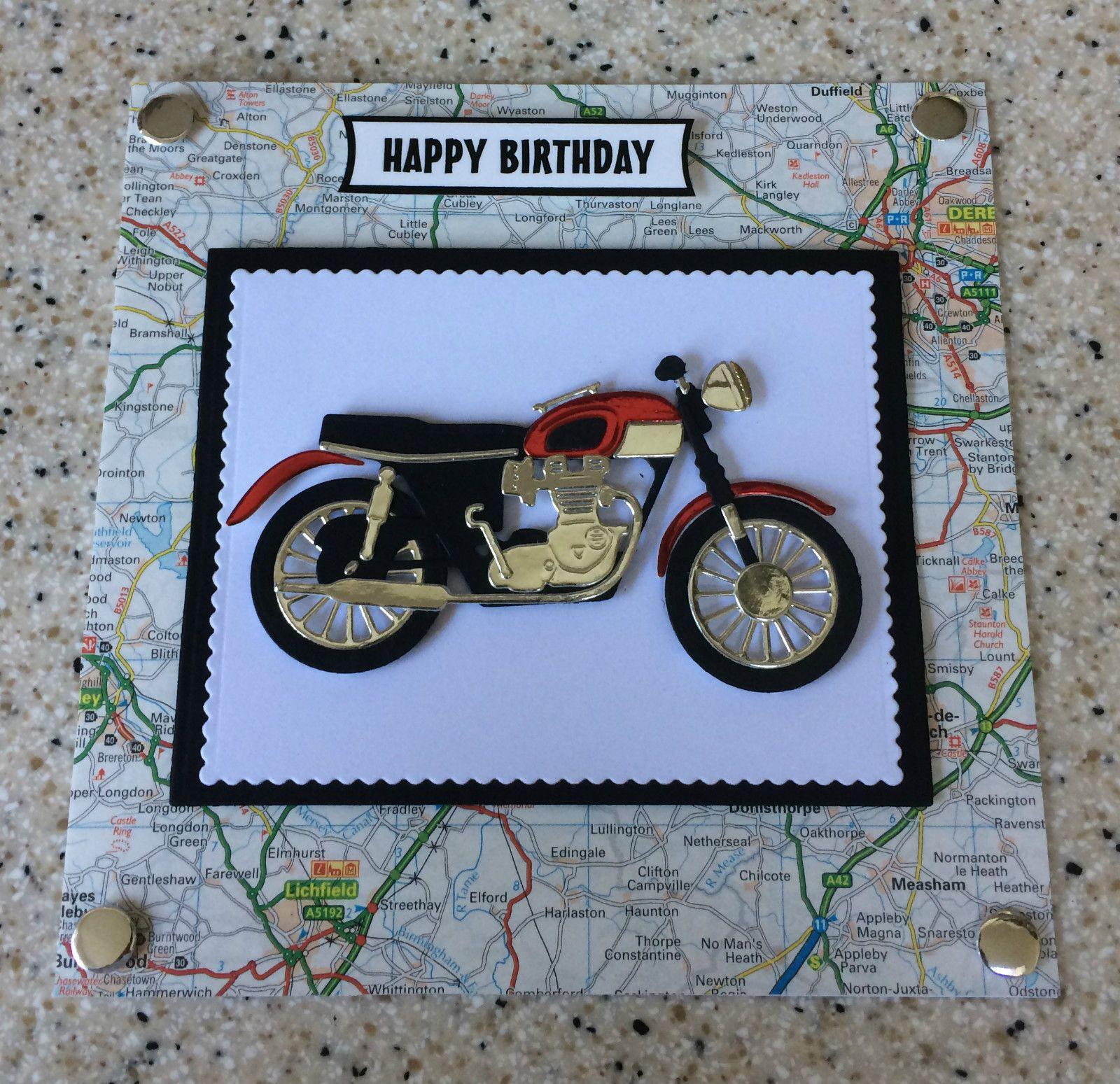 Handmade Motorbike Biker Bike Road Map Happy Birthday Card 6 9 Colour Options Birthday Cards For Men Cool Birthday Cards 60th Birthday Cards