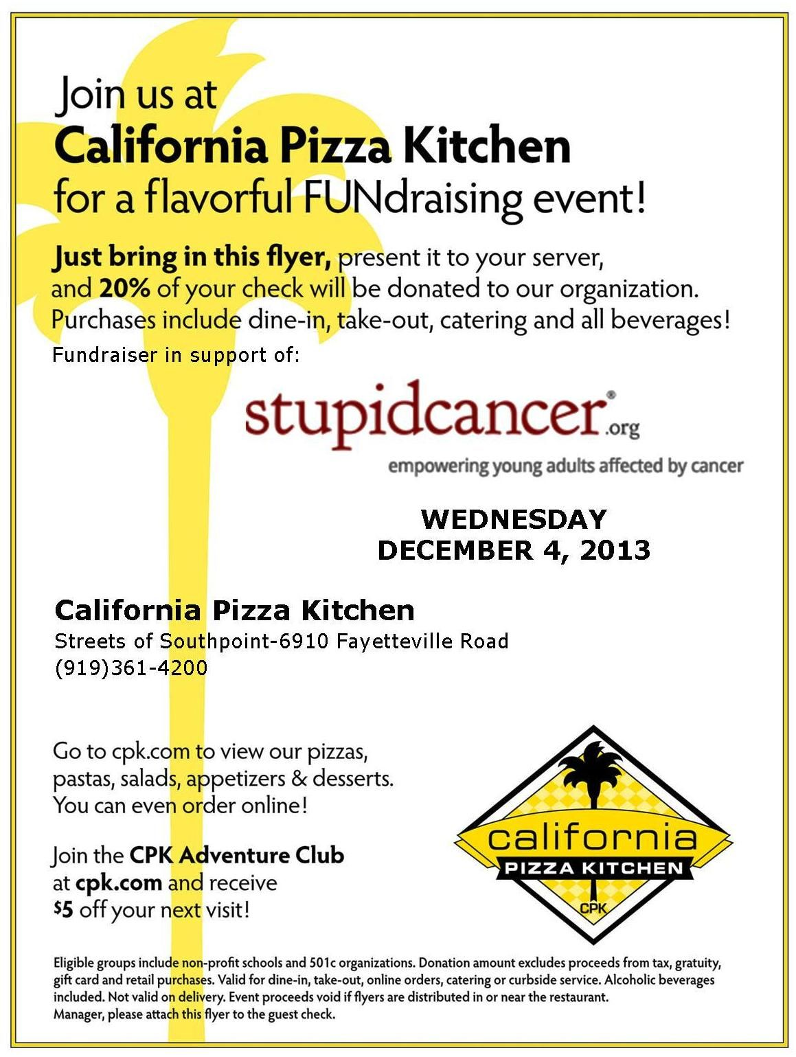 California Pizza Kitchen fundraiser in support of Stupid Cancer ...