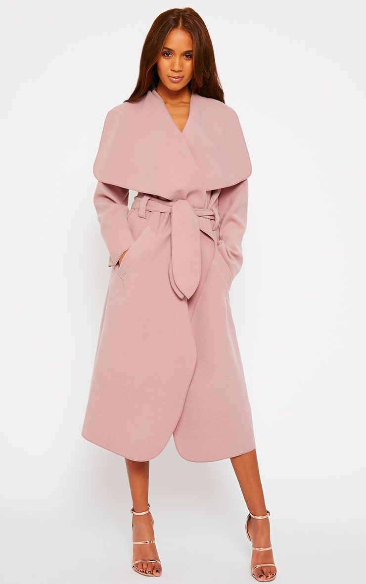 Veronica Dusty Pink Waterfall Coat by Pretty Little Thing | Baby ...