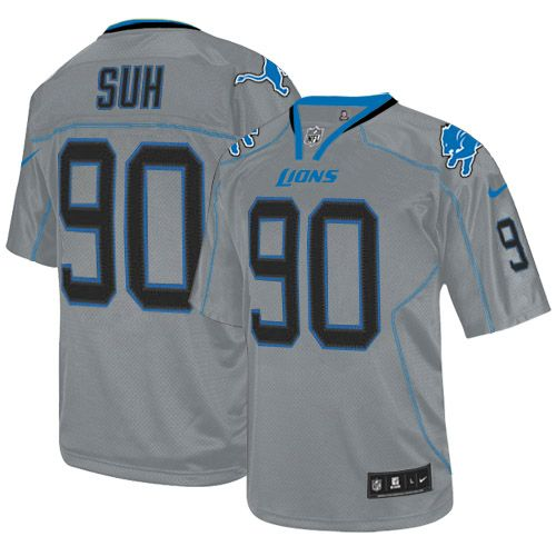 01cb8e627 Nike Lions  90 Ndamukong Suh Lights Out Grey Men s Embroidered NFL Elite  Jersey! Only