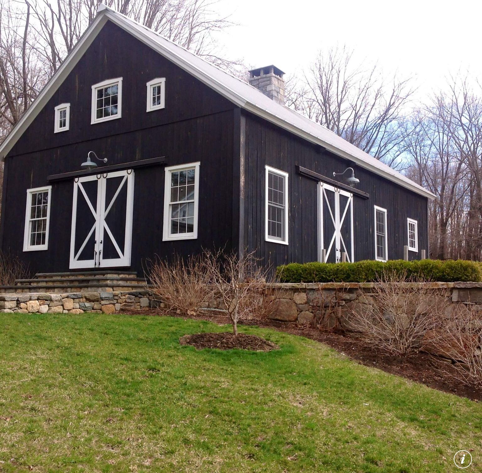 Black Barn White Trim With Field Rock Fence White