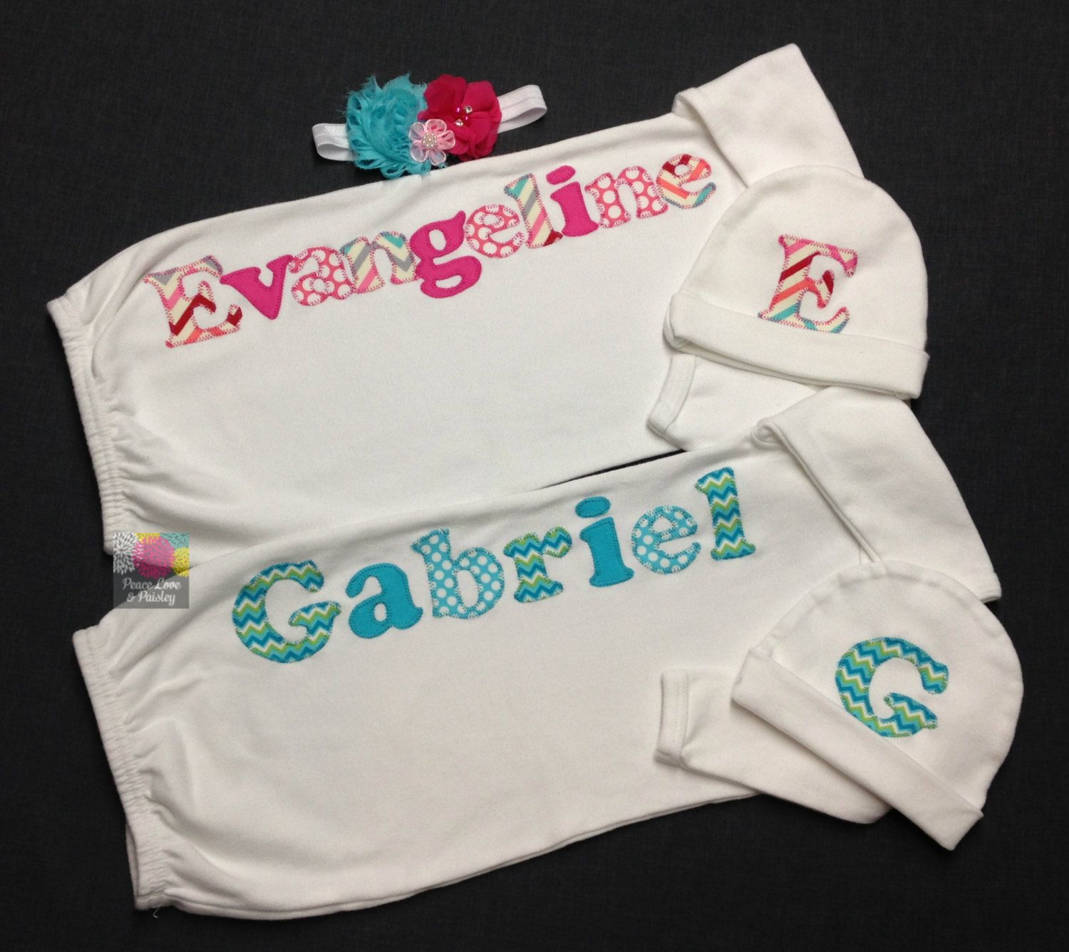 Boy girl twins personalized baby gown and hat sets twin going boy girl twins personalized baby gown and hat sets twin going home outfits negle Choice Image