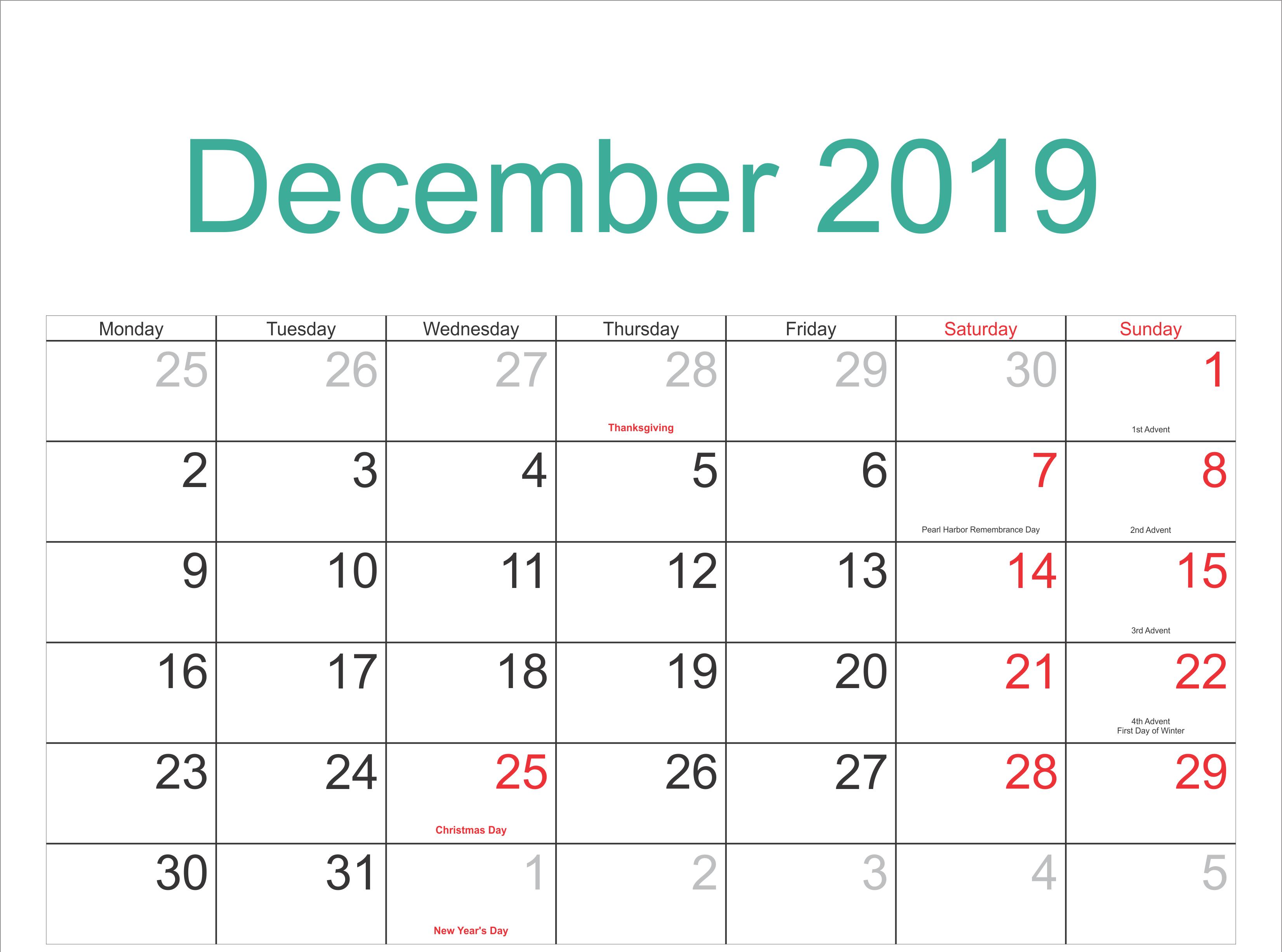 December 2019 Calendar With Holidays Calendar Printables Calendar Template Monthly Calendar Template