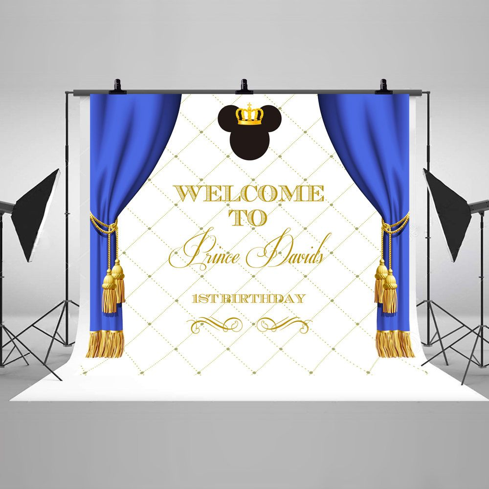 PRINTED Custom Prince Mickey Inspired Birthday Party Backdrop Royal Mickey Birthday Party Background Baby Mickey Party Banner Decoration