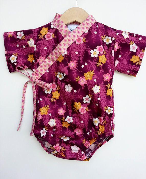 Baby Kimono Bodysuit Burgundy Sakura Baby Girl Outfit Unique