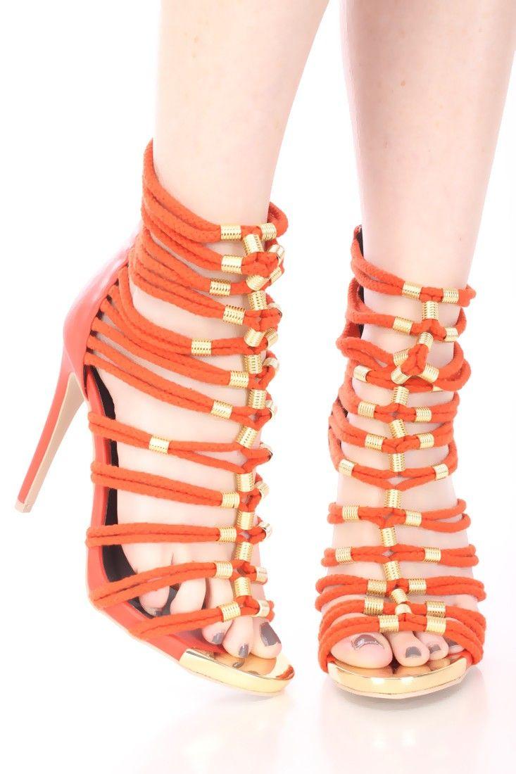 Orange Beaded Strappy Open Toe Heels Faux Leather