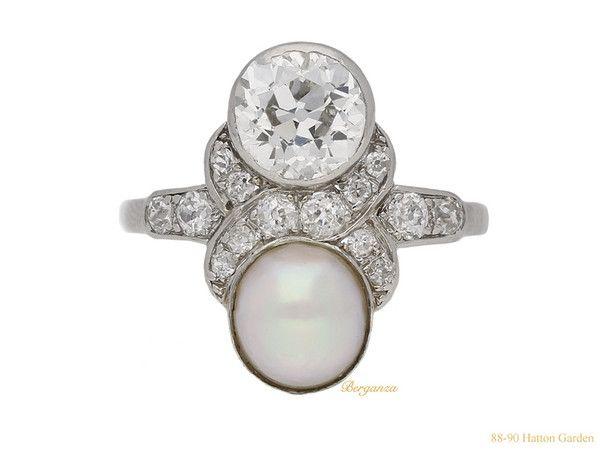 Natural pearl and diamond ring 1920.