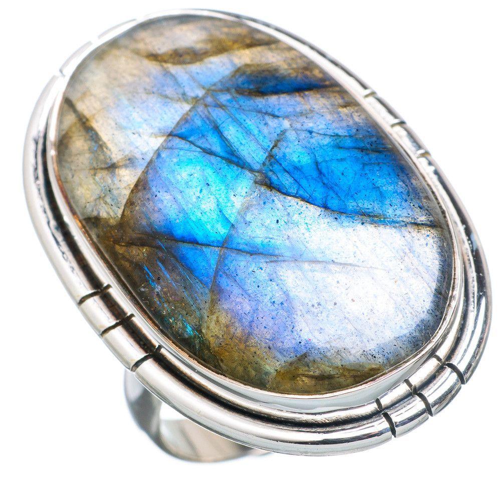 Huge Labradorite 925 Sterling Silver Ring Size 7.25 RING721085