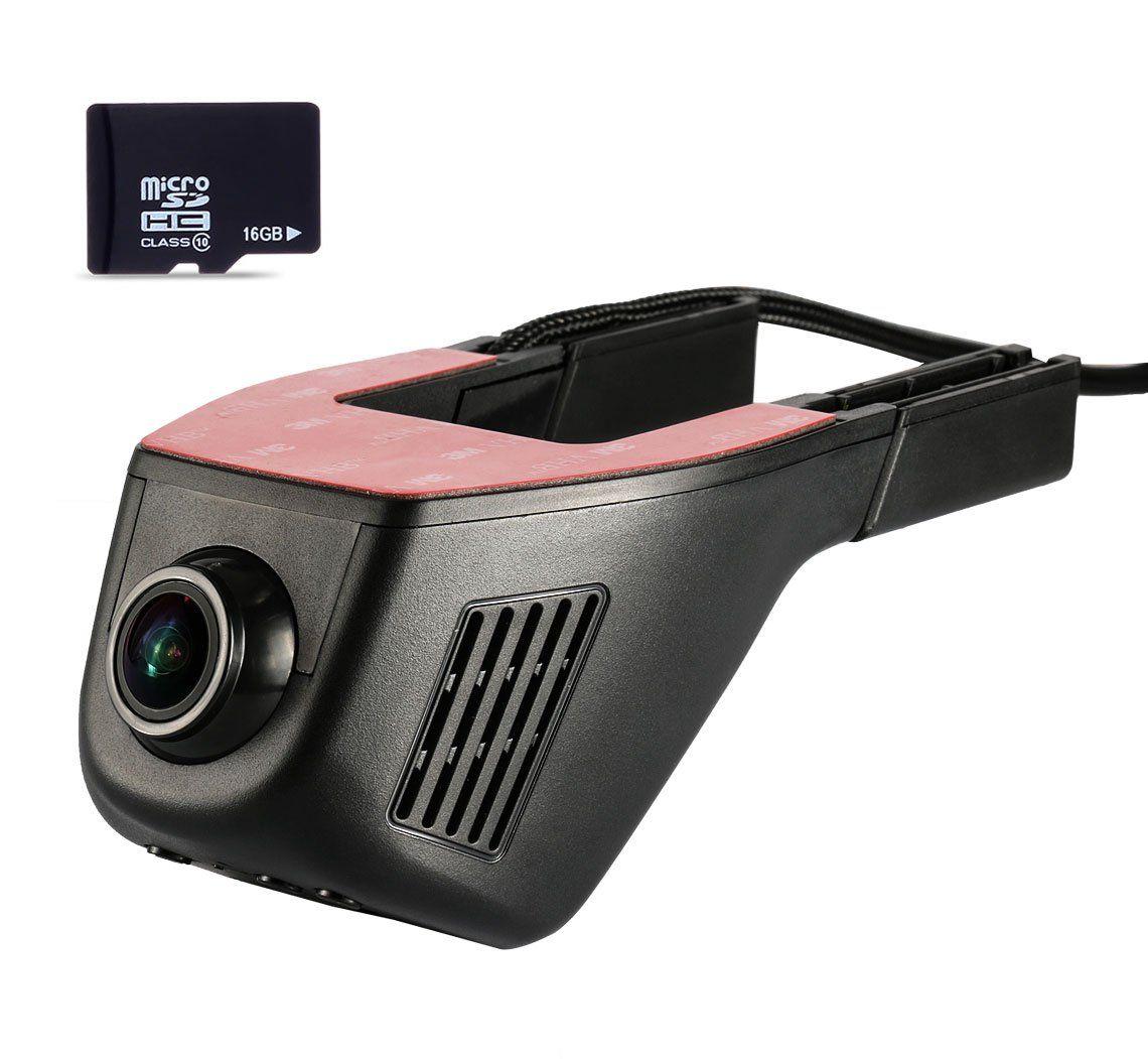 Accfly full hd 1080p wifi car hidden dash cam recorder wtih 16gb memory card