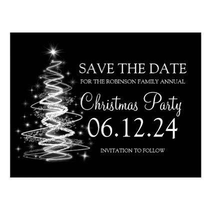 Christmas Party Save The Date Sparkling Tree Black Announcement Postcard Zazzle Com Work Christmas Party Save The Date Work Holiday Party