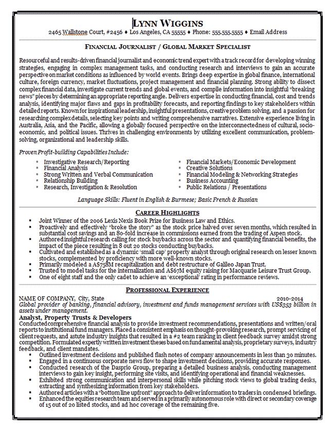 Journalist - Writer | Job resume examples, Resume examples ...