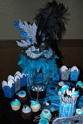 E. Street Events » Planner | Event Planner | Event Designer | Jacksonville | St. Augustine | Florida | Atlanta | Georgia | Wedding Invitations | Invitations | Party Planner | Consultants » Kache's Karnivale – Sweet 16 Masquerade Party #candybuffet #dessertbar #masquerade #turquoise #mask #sweet16 #estreetevents