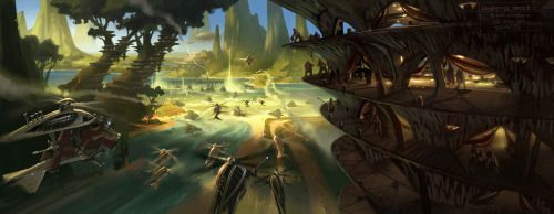 The Clone Wars Come To Kashyyyk In This Concept Art From Revenge Star Wars Art Background Star Wars Concept Art