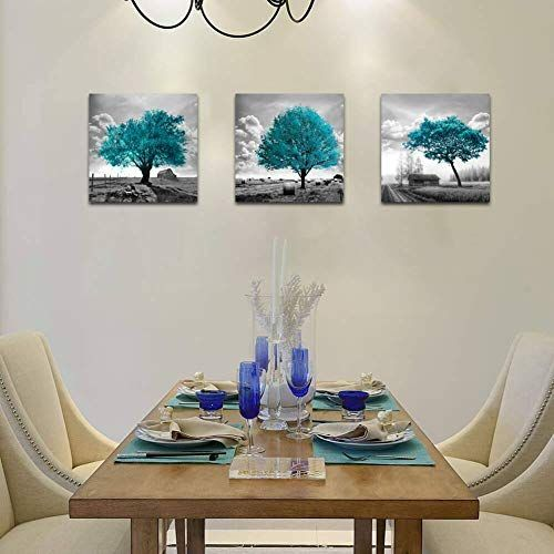 Canvas Wall Art for Bedroom Black and White Farmhouse Rustic Country Landscape Teal Trees Pic...#art #bedroom #black #canvas #country #farmhouse #landscape #pic #rustic #teal #trees #wall #white