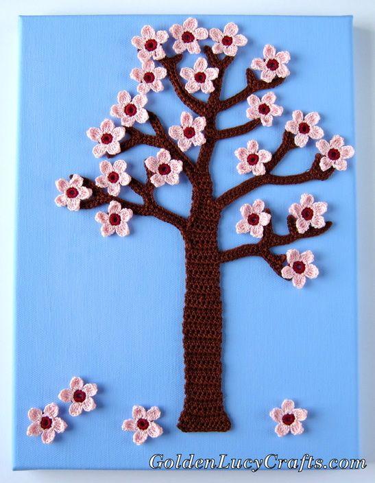 Spring Crochet Wall Art, Wall Decor, Cherry Blossom Tree | Pinterest ...