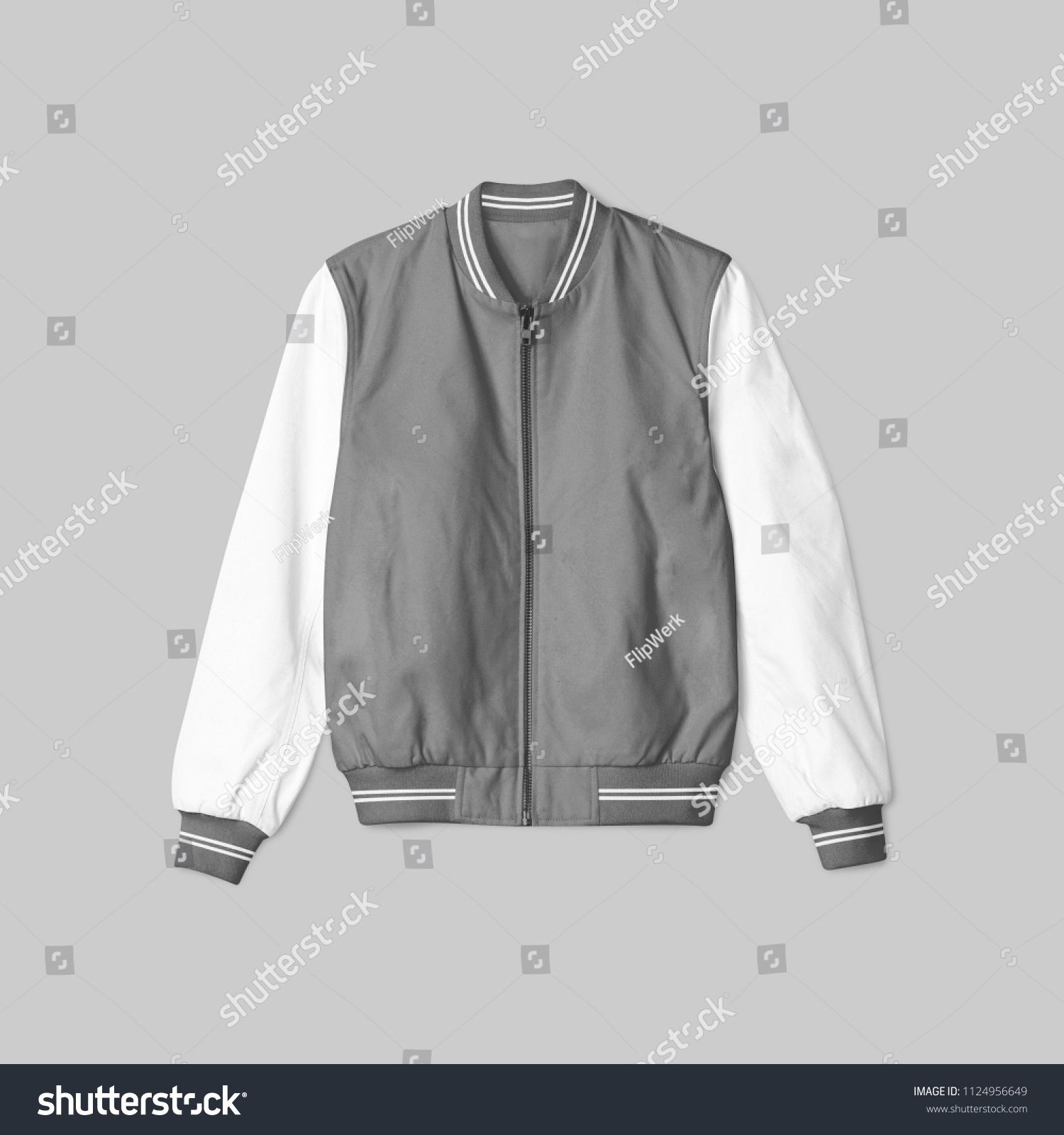 Blank Jacket Satin Baseball Grey And White Color On Grey Background For Mockup Template Isolated In Front View Baseball Grey And White Jackets Gray Background [ 1600 x 1500 Pixel ]