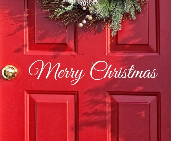 Merry Christmas Decor Decal Sticker For Window Home Front Door Holiday Party Crafts Jars And More 5 00 Via Etsy