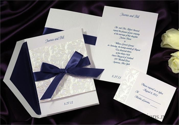 Midnight Blue Silver Cream Wedding Invitations Sets Ribbon Monstermarketplace