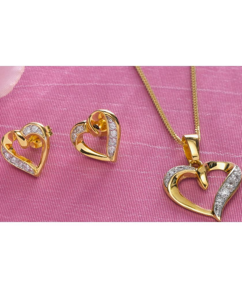 Buy 9ct Gold Plated Silver Cubic Zirconia Set Heart Pendant at Argos ...