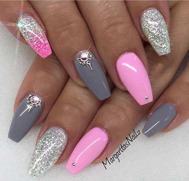 Pink Grey Silver Nails Nail Designs Pink Nails Gel Nails