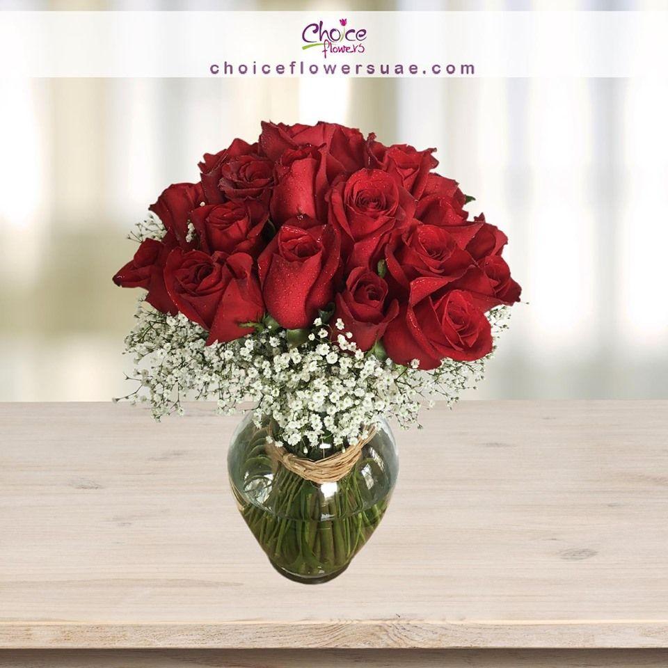 Red Rose Glass Vase Arrangement Valentine S Day Abu Dhabi Vase Arrangements Red Roses Flower Arrangements