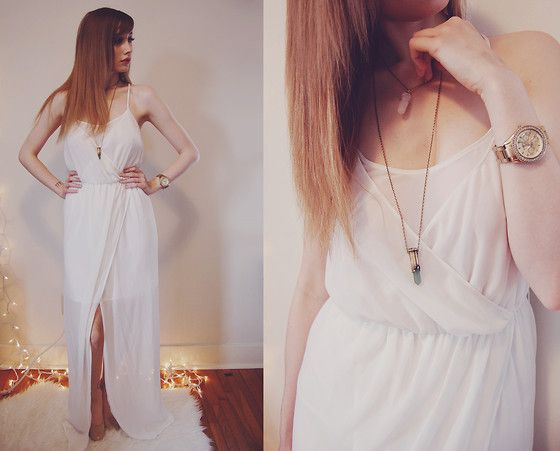 Zara Maxi Dress, Fossil Watch, Willow Den Rose Quartz Necklace, Payless Shoes Nude Heels