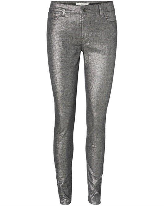 Gri Vero Moda Seven Super Slim Parıltılı Pantolon 10166006