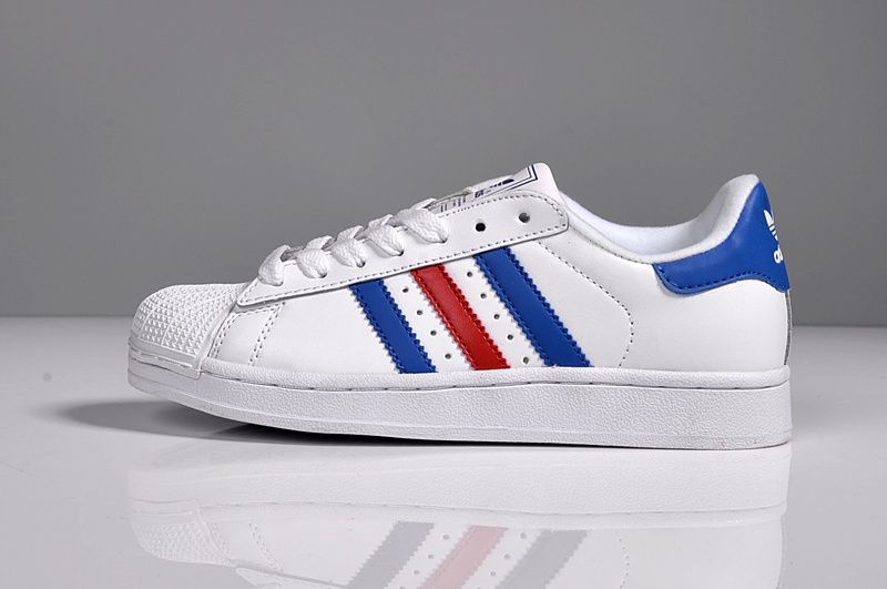 2016 Women Adidas superstar Women 2016 Casual Sneakers white blue red I would 023c4d